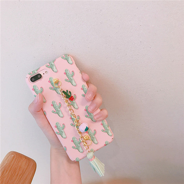 Cactus with Chain Wrist Strip iPhone Case