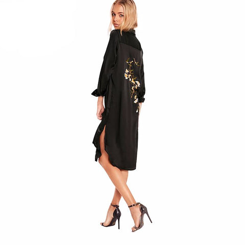 Black Floral Embroidery Shirt Dress
