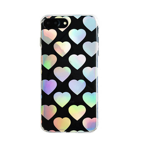 Black Holographic Hearts iPhone Case