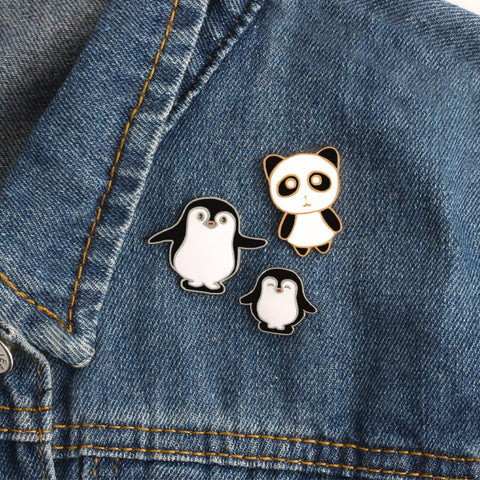 Kawaii Panda and Penguin Enamel Pins