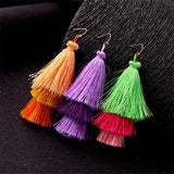 Multicolor Silk Tassel Long Drop Earrings