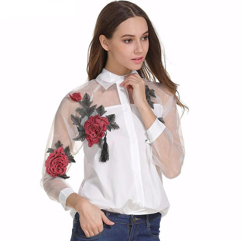 Rose Embroidered White Mesh Blouse