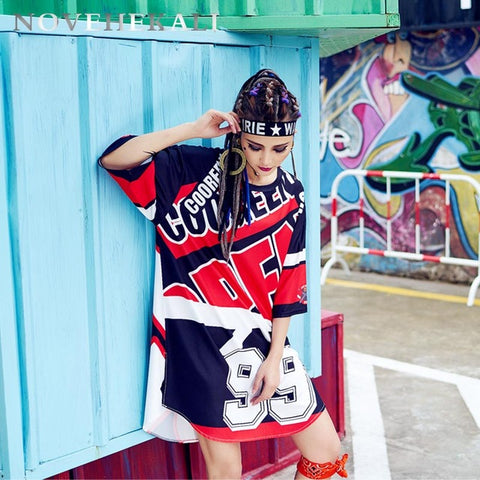 Graffiti Long Loose T-shirt Dress