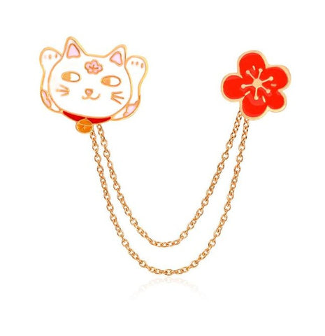Lucky Cat w/ Chain Cherry Blossom Enamel Pin