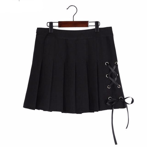 Lolita Preppy Bow Tie Lace Up Pleated Mini Skirt