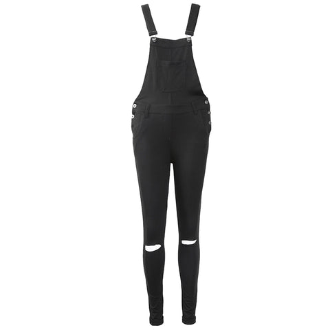 Black Denim Crossed Pants Overall