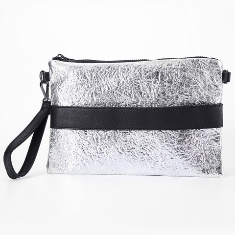 Metallic Faux Leather Envelope Bag