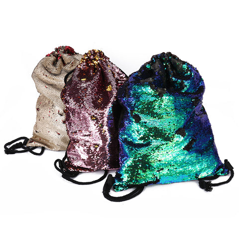Sequined Drawstring Bag