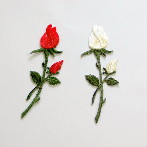 2 Piece Red & White Rose Flowers Embroidered Iron-on Patches