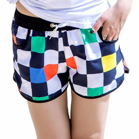 Playful Checkered Board Shorts