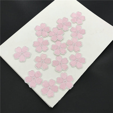 10 Piece Single Plum Flowers Embroidered Iron-on Patches