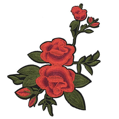 1 Pair/2 Piece Rose Bunch Embroidered Iron-on Patches