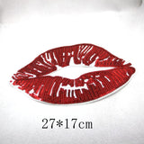 1 Pair/2 Piece Sequined Big Red Lips Embroidered Iron-on Patches