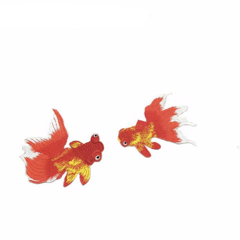 1 Pair/2 Piece Goldfish Embroidered Iron-on Patches