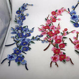 1 Piece Large Plum Flowers Embroidered Iron-on Patches