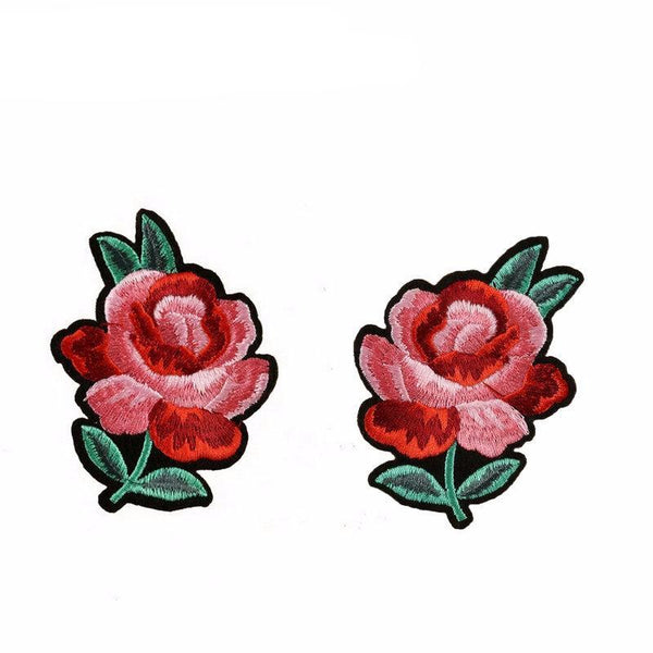 1 Pair/2 Piece Red Roses Embroidered Iron-on Patches
