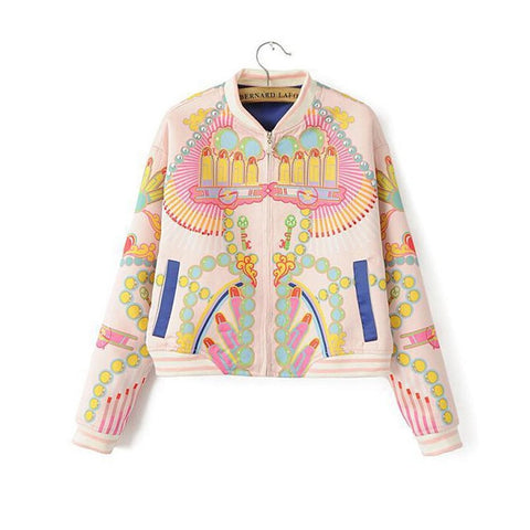Pastel Couture Print Bomber Jacket