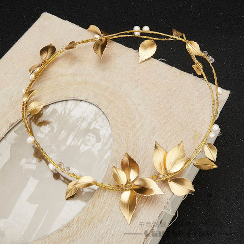 Simple Ornamental Leaf & Pearl Headband