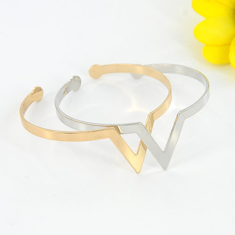 V Shape Metal Open Arm Cuff Bangle