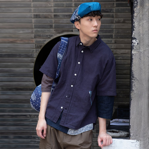 (ST049) Japanese Fabric Patchwork Short Sleeve Shirt