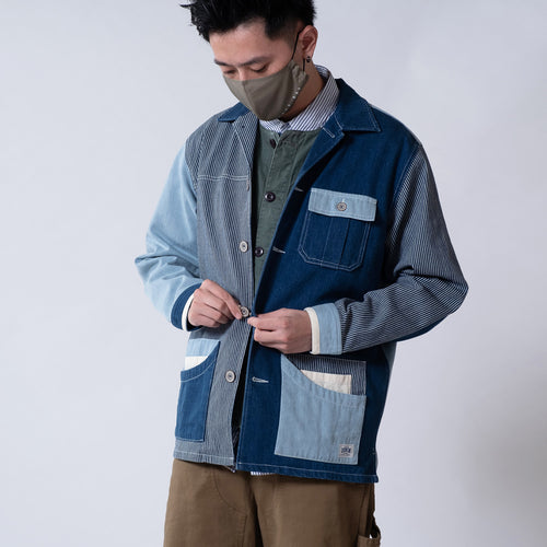 (JK217) Patchwork Denim Work Jacket