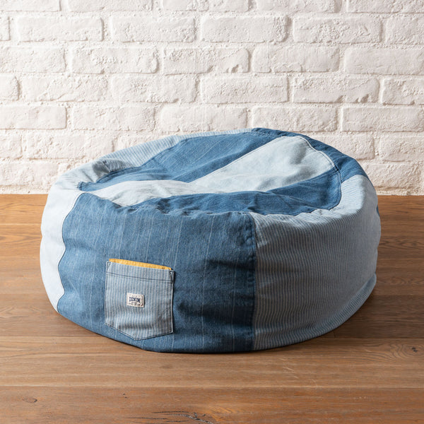 (AA362) Denim Patchwork Bean Bag Chair