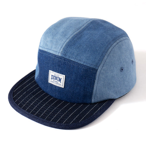 (AC173) Denim Colorblock Camp Cap