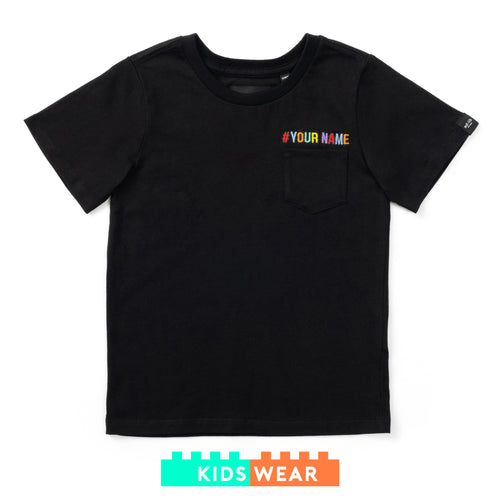 Kids Make your Own Embroidery Pocket Tee - Rainbow Color (EMT047)