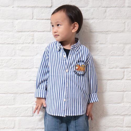 Kids Stripe Embroidery Shirt (EX223)