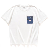 (ZT273) Fake Pocket Print Drop Shoulder Tee