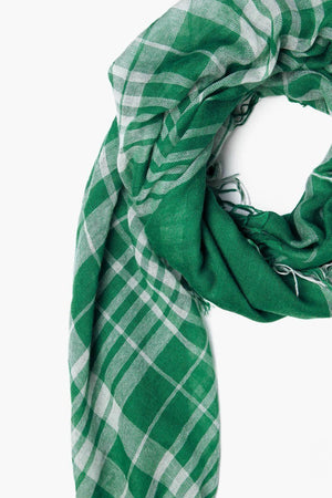 Chan Luu Verdant Green Plaid Cashmere And Silk Scarf-Accessories-Chan Luu-Sheridanboutique