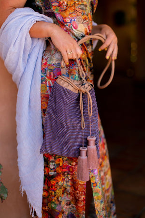 Maliparmi Macro Beaded Pouch Bag With Tassels in Plum-Handbag-Maliparmi-Sheridanboutique