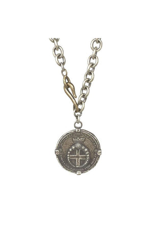 Audaces Signature Cross Coin Necklace By Shannon Koszyk-Jewelry-Shannon Koszyk-Two Tone-Sheridanboutique