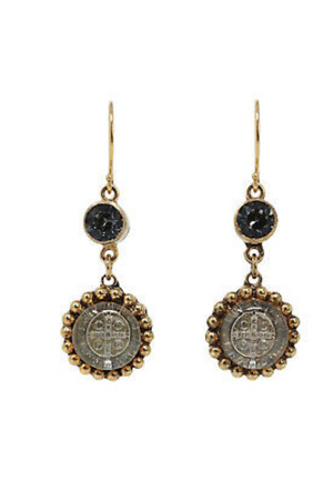 VSA Designs Gold San Benito Magdalena Earrings + Silver Night-Jewelry-Virgins Saints & Angels-Sheridanboutique