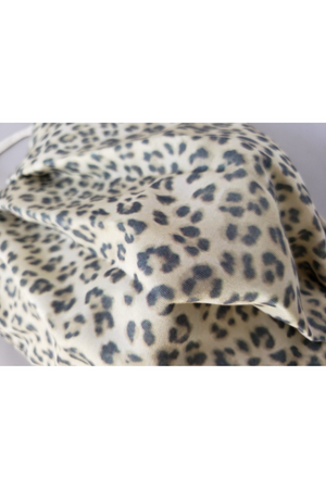 Gray Cream Leopard Fancy Pleated  Face Mask with Filters + Carry Pouch