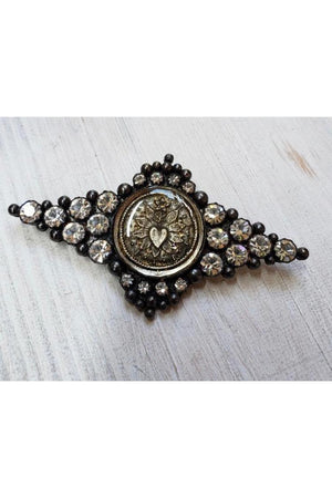 VSA Designs Fay Winged Brooch Pin Gunmetal-Jewelry-Virgins Saints & Angels-Sheridanboutique