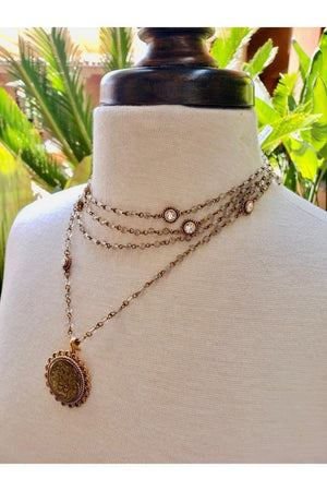 VSA Designs Necklace Gray Agate Immaculate Lux Magdalena-Jewelry-Virgins Saints & Angels-Sheridanboutique