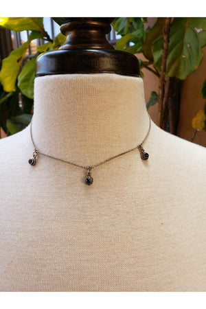 VSA Designs Santa Monica 3 Crystal Choker Necklace Silver-Jewelry-Virgins Saints & Angels-Sheridanboutique