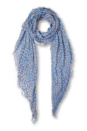 Chan Luu Palace Blue Leopard Print Cashmere And Silk Scarf-Accessories-Chan Luu-Sheridanboutique