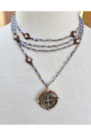 VSA Designs Rose Gold Periwinkle Magdalena San Benito Necklace-Jewelry-Virgins Saints & Angels-Sheridanboutique