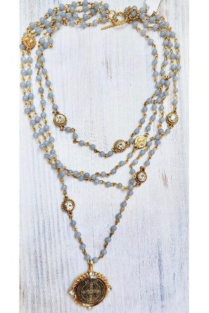 VSA Designs Gold Angelite Lux San Benito Magdalena Necklace-Jewelry-Virgins Saints & Angels-Sheridanboutique