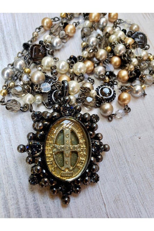 VSA Designs Necklace San Benito Oval Lux 6mm Mixed Pearls Magdalena Gunmetal + Stained Glass-Jewelry-Virgins Saints & Angels-Sheridanboutique