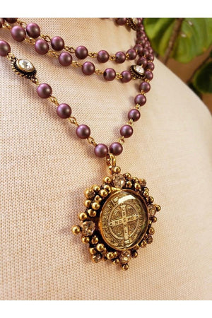 VSA Designs Necklace San Benito Cloister Iridescent Red 6mm Pearl Magdalena-Jewelry-Virgins Saints & Angels-Sheridanboutique