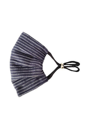 Dim Gray Black to navy stripe Reversible Fancy Pleated  Face Mask with Filters + Carry Pouch