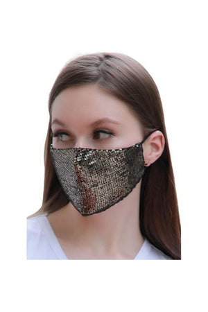 Dim Gray Fashion Bling Face Mask + Filters Gold