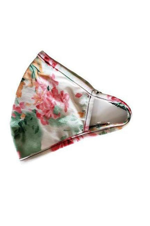 Fashion Face Mask Rose Floral White w/black trim-Health & Wellness-Three Wild Horses-Sheridanboutique
