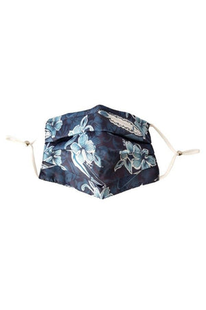 Dim Gray Blue Lagoon Hawaiian Surf Fancy Pleated  Face Mask with Filters + Carry Pouch