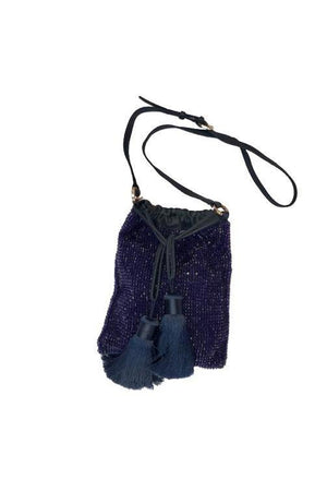Maliparmi Macro Beaded Pouch Bag With Tassels in Navy-Handbag-Maliparmi-Sheridanboutique