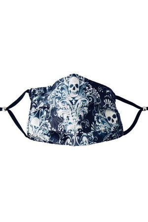 Dark Slate Gray Chic Skull Fancy Pleated  Face Mask with Filters + Carry Pouch