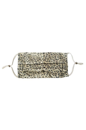 Rosy Brown Cream Leopard Fancy Pleated  Face Mask with Filters + Carry Pouch